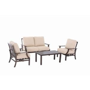 Superb Hampton Bay, Millstone 4 Piece Patio Deep Seating Set With Beige Cushions,  FCA65097RST