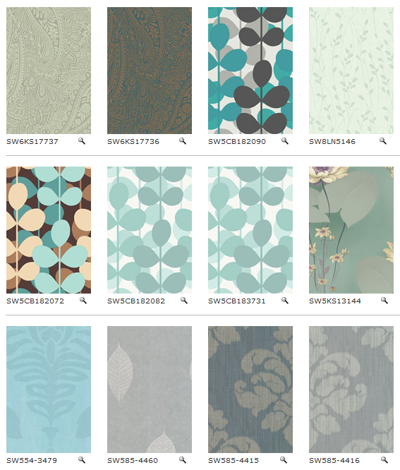 "Sherwin Williams now has more than 5000 patterns of ""Easy Change"" wallpaper (i.e., temporary, removable, ""renter's"" wallpaper). Browsable by color or collection: http://www.swdecorating.com/default.asp?fm=/wallpaper_home.asp