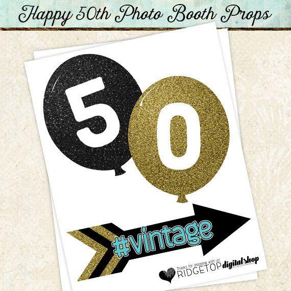 Photo Booth Props HAPPY 50TH BIRTHDAY por RidgetopDigitalShop