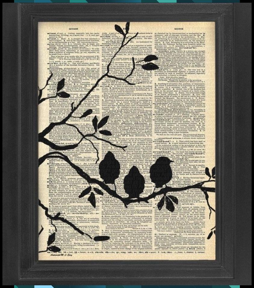 Liebe Auf Den Ersten Blick Liebesvogel Satz Von 4 Vogel Kunst Druck Set Worterbuch Art Buchkunst Wand Dekor In 2020 Bird Silhouette Art Bird Art Bird Art Print