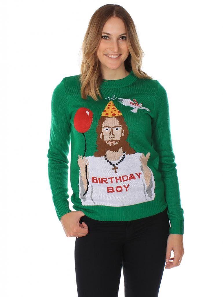 66ae86c75f7 Women s Ugly Christmas Sweater - Happy Birthday Jesus Sweater Green Size  XS---FOUND IT!!!
