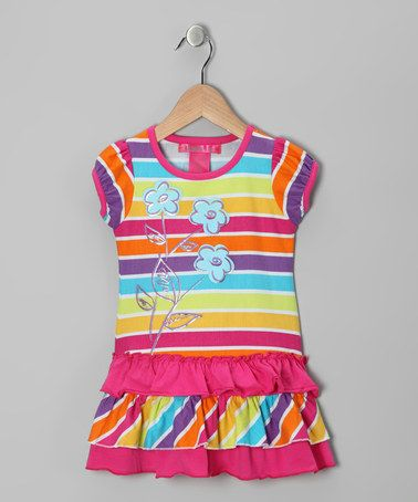 Take a look at this Pink Stripe Flower Ruffle Tunic - Toddler & Girls by Bamba Kids on #zulily today!