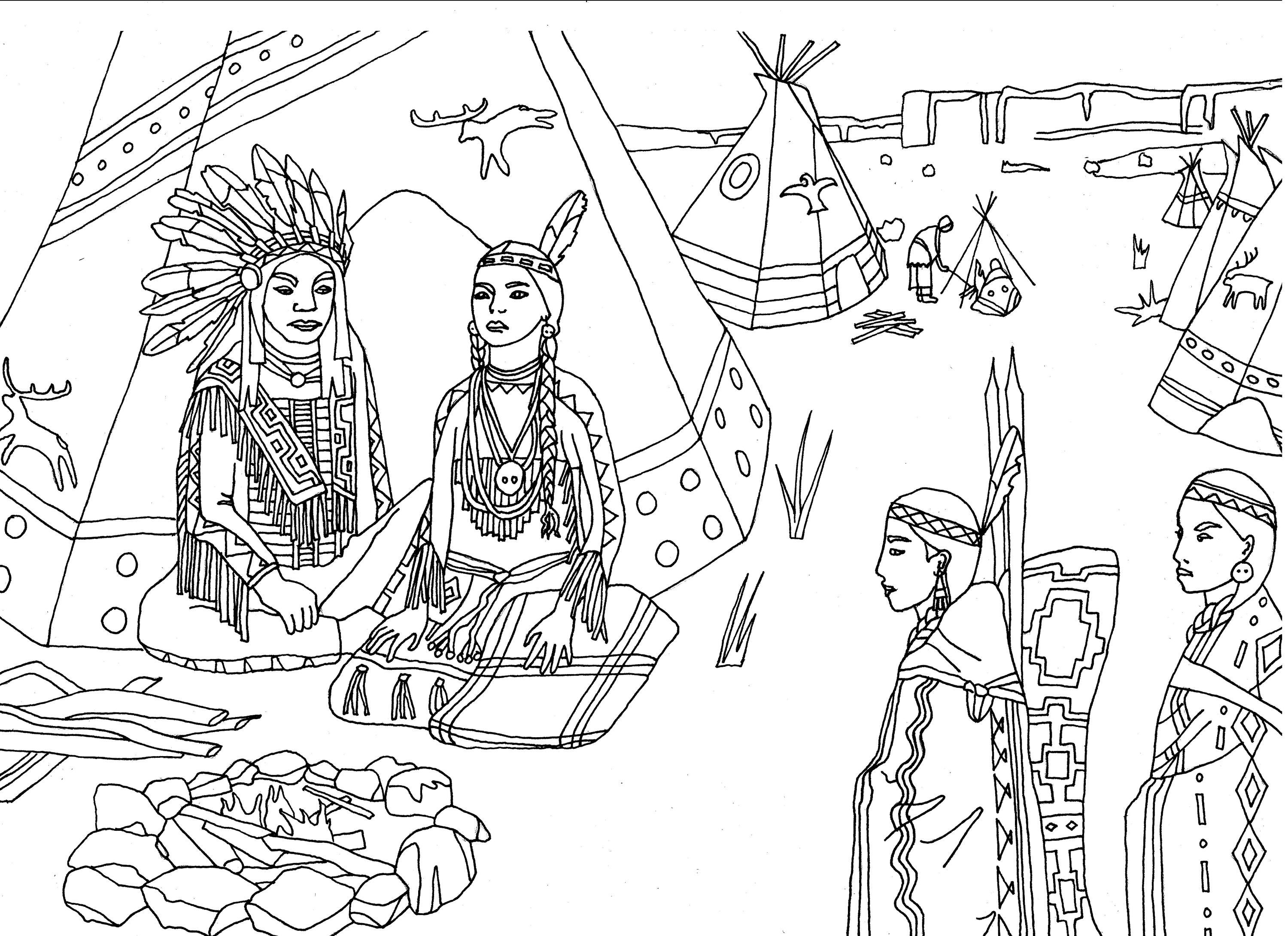 free coloring page coloring adult native americans indians sat front - Native American Coloring Book