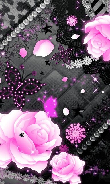 Beautiful Floral With Butterfly Pink And Black Wallpaper Cellphone Wallpaper Butterfly Wallpaper