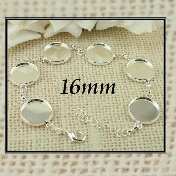 2 KITS / 2 16mm Bracelet Settings with Optional 12 Glass Domes and 12 or 24 SEALS, 16mm  Blank Bezel Link Photo Charm Bracelet  - Adjustable