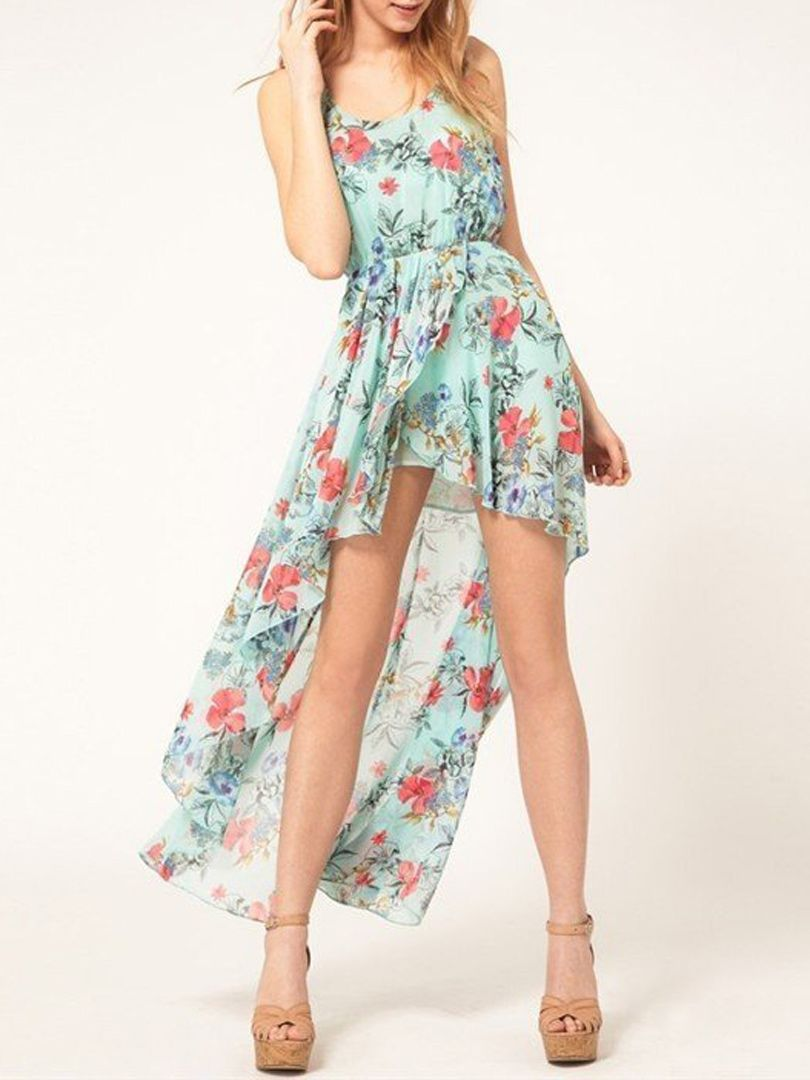Green Floral Sleeveless Deep Hem Dress  Teenage girls dresses