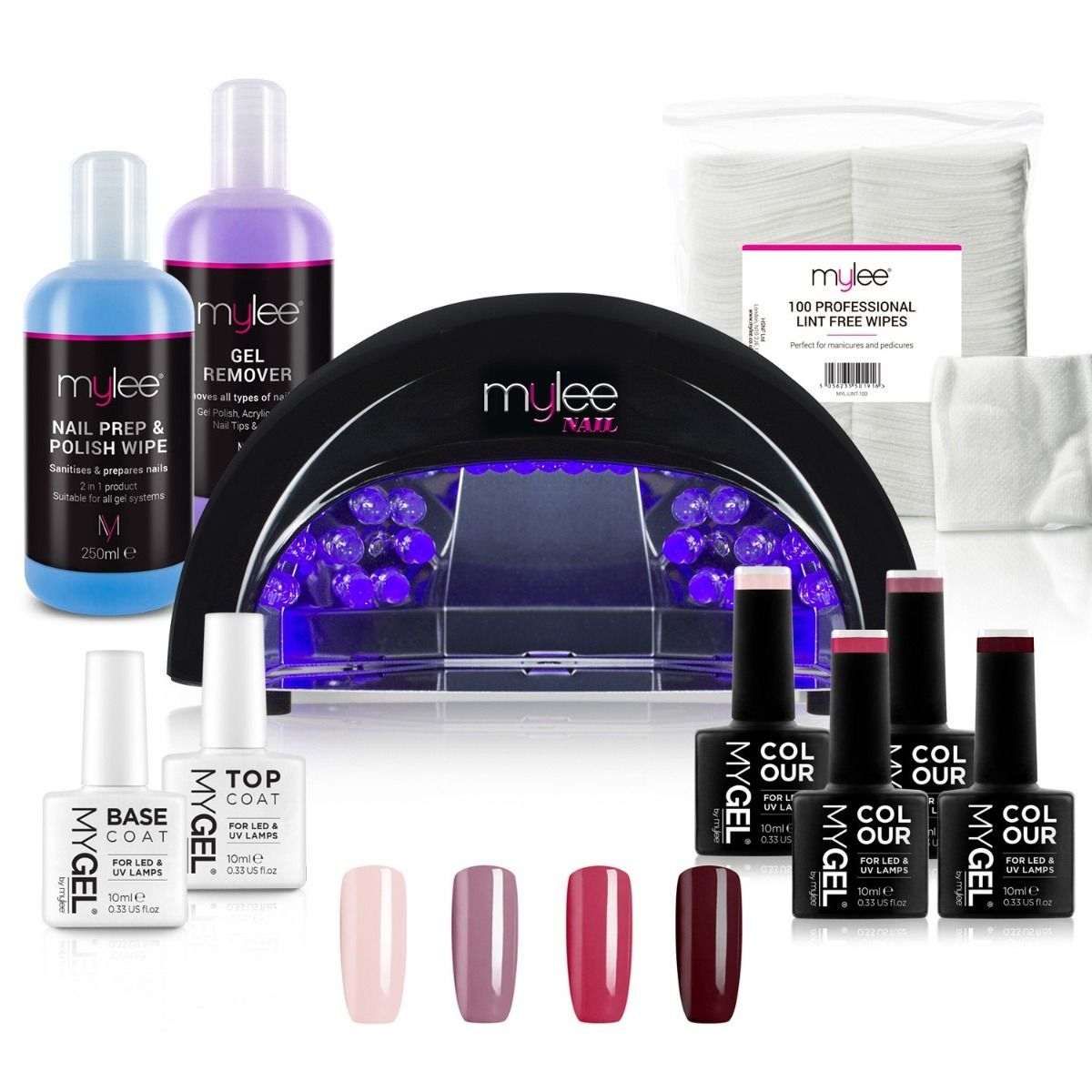 Mylee LED Nail Lamp Top Base Coat Prep Wipe Remover Kit