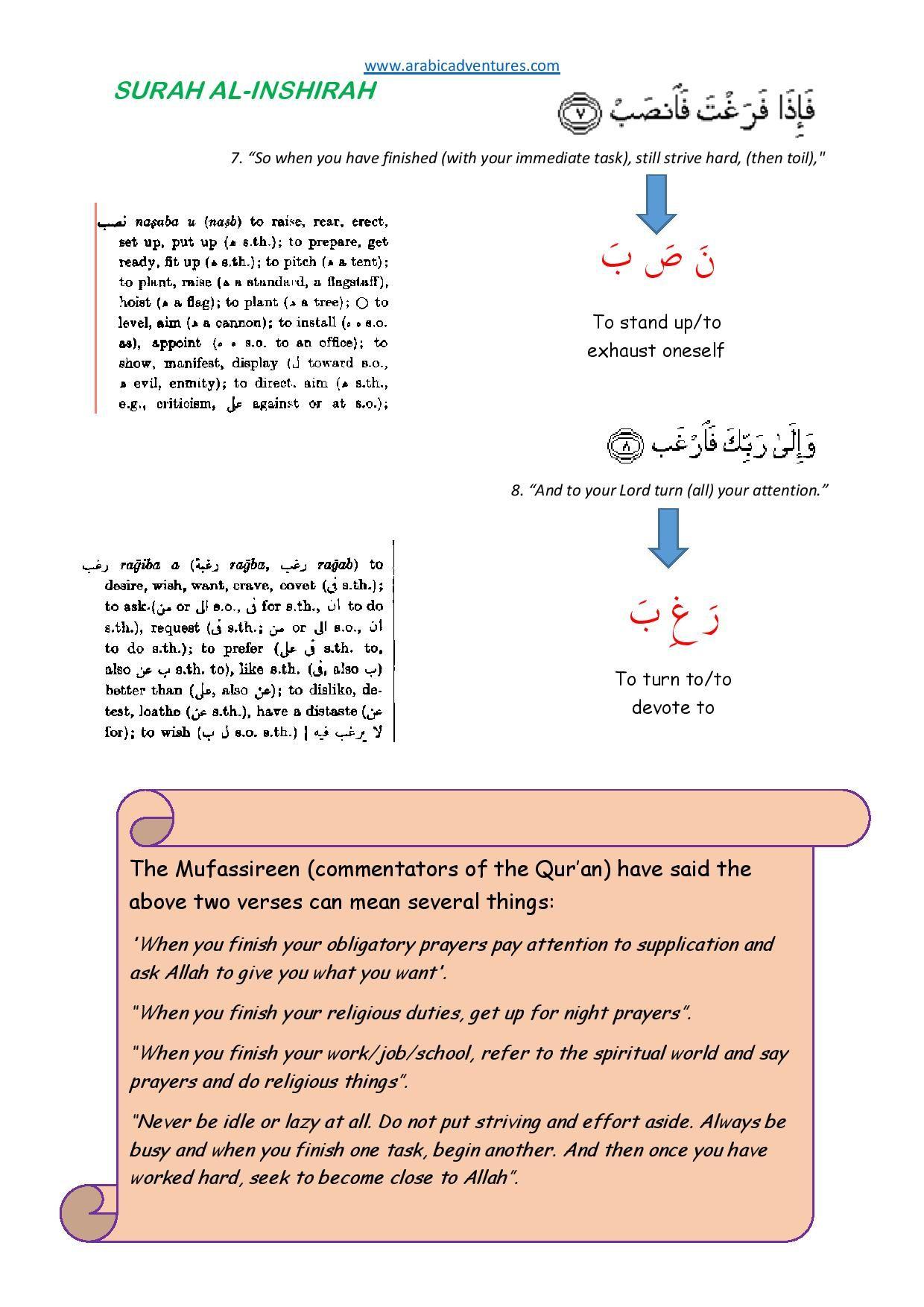 Surah Al Inshirah Tafsir Handout 1 Free At