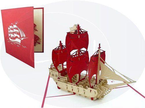 Aufklappbare POP UP Geburtstagskarte eines Piratenschiffs. Mehr entdecken auf: www.lin-popupkarten.de