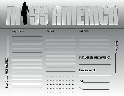 Miss America Judging Score Sheets - Fashion dresses