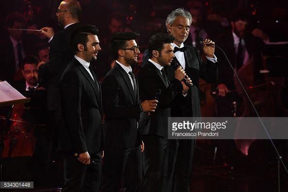 Fotografía de noticias : Il volo and Andrea Bocelli perform at Bocelli and...