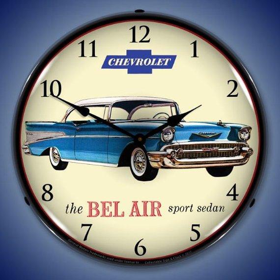 Led 1957 Chevrolet Bel Air Sport Sedan 14 Backlit Etsy Chevrolet Bel Air Wall Clock Light 1957 Chevrolet