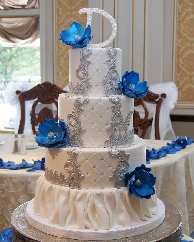 Wedding Cake Ideas Royal Blue: Old Victorian Royal Blue, Silver & White Wedding Cake