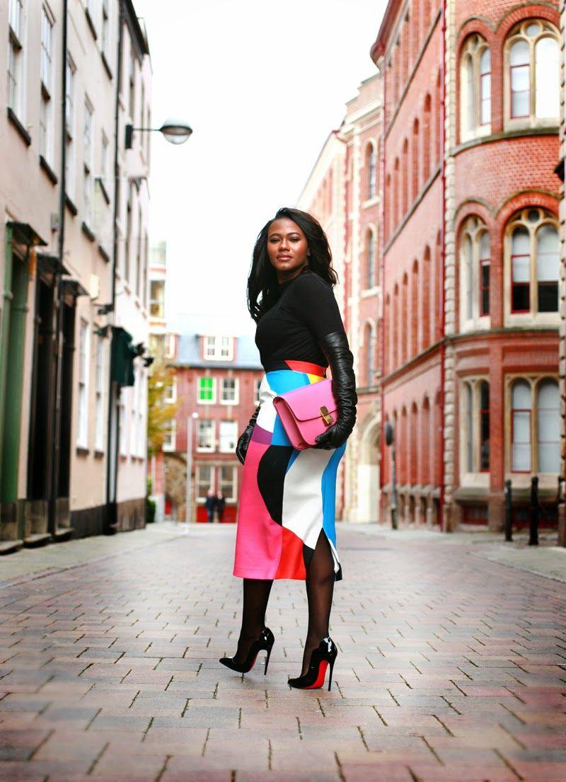 Zara top, Asos tights, By Johnny skirt, Prada gloves, CL pumps, celine box bag