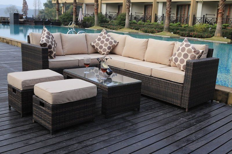 Rattan Corner Seater Sofa Set Conservatory Garden Outdoor Patio Furniture  Set