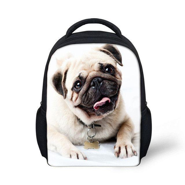 Pug Dog Pattern Small Backpack Toddler Kindergarten Preschoolers Bag Kids
