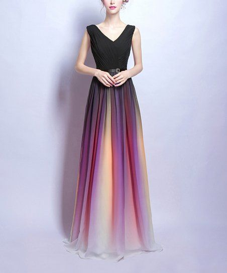 a80b80eba77 Coeur de Vague Black   Magenta Ombré V-Neck Sleeveless Gown