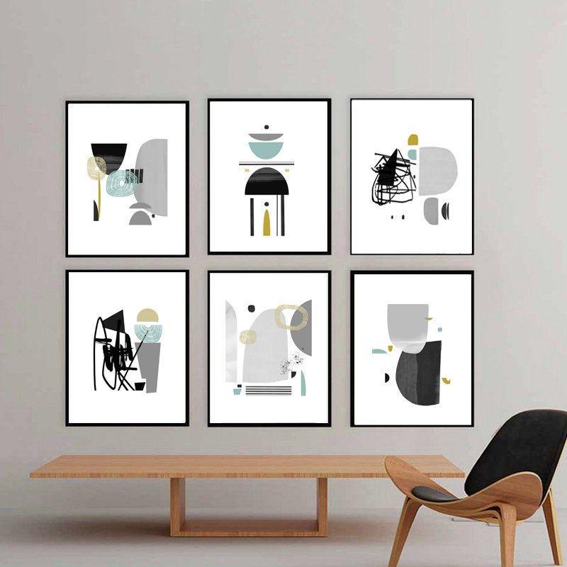 Abstract Geometric Mid Century Modern Set Of 6 Prints Gray Etsy Geometric Art Printable Grey Wall Art Scandinavian Print