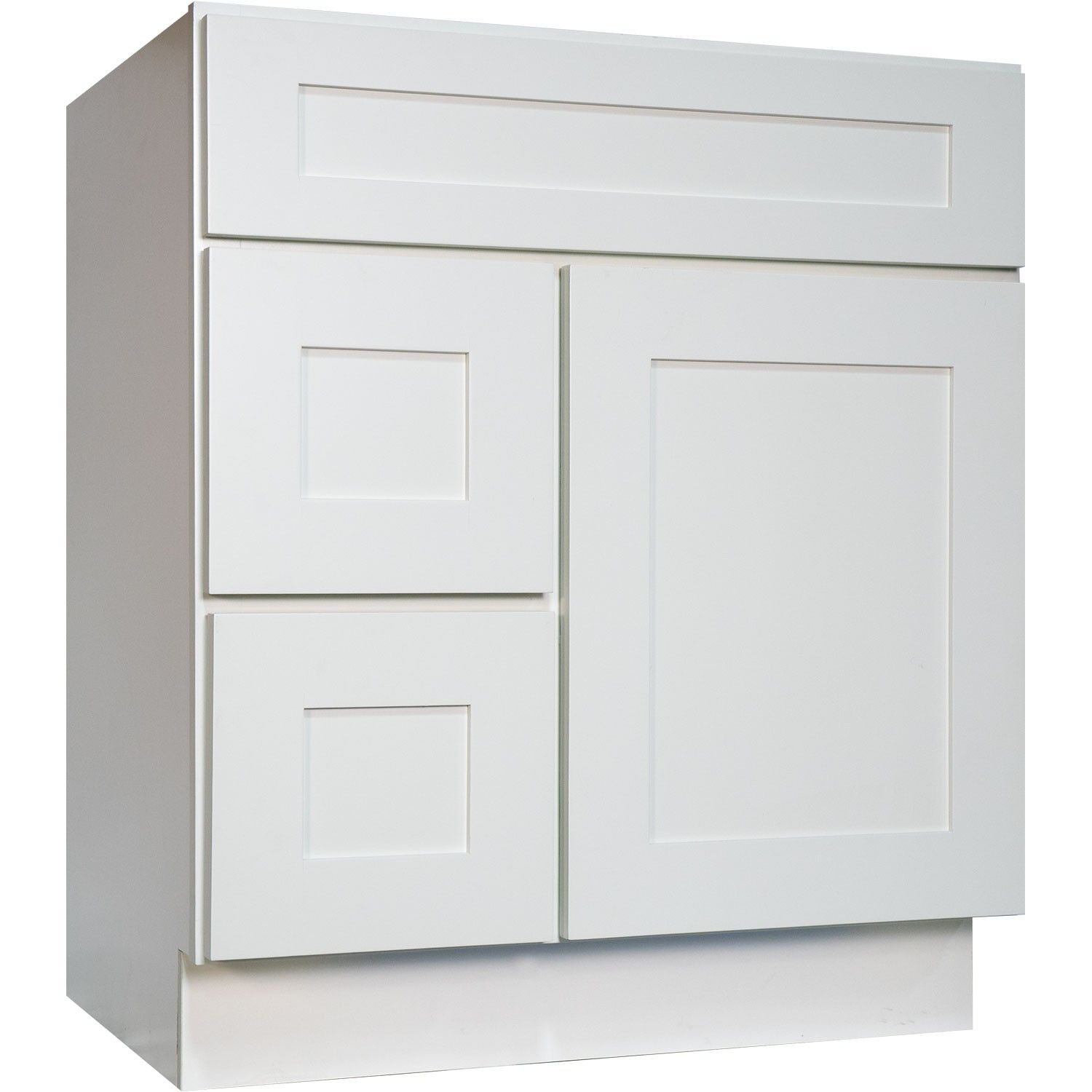 30 Inch Bathroom Vanity Single Sink Cabinet In Shaker White With Soft Close  Drawers & Door