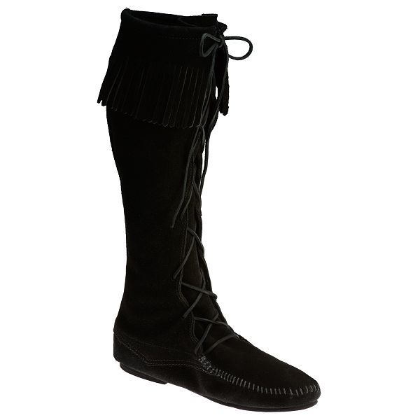 Buy Women Shoes / Minnetonka Black Suede Front Lace Knee High Boots