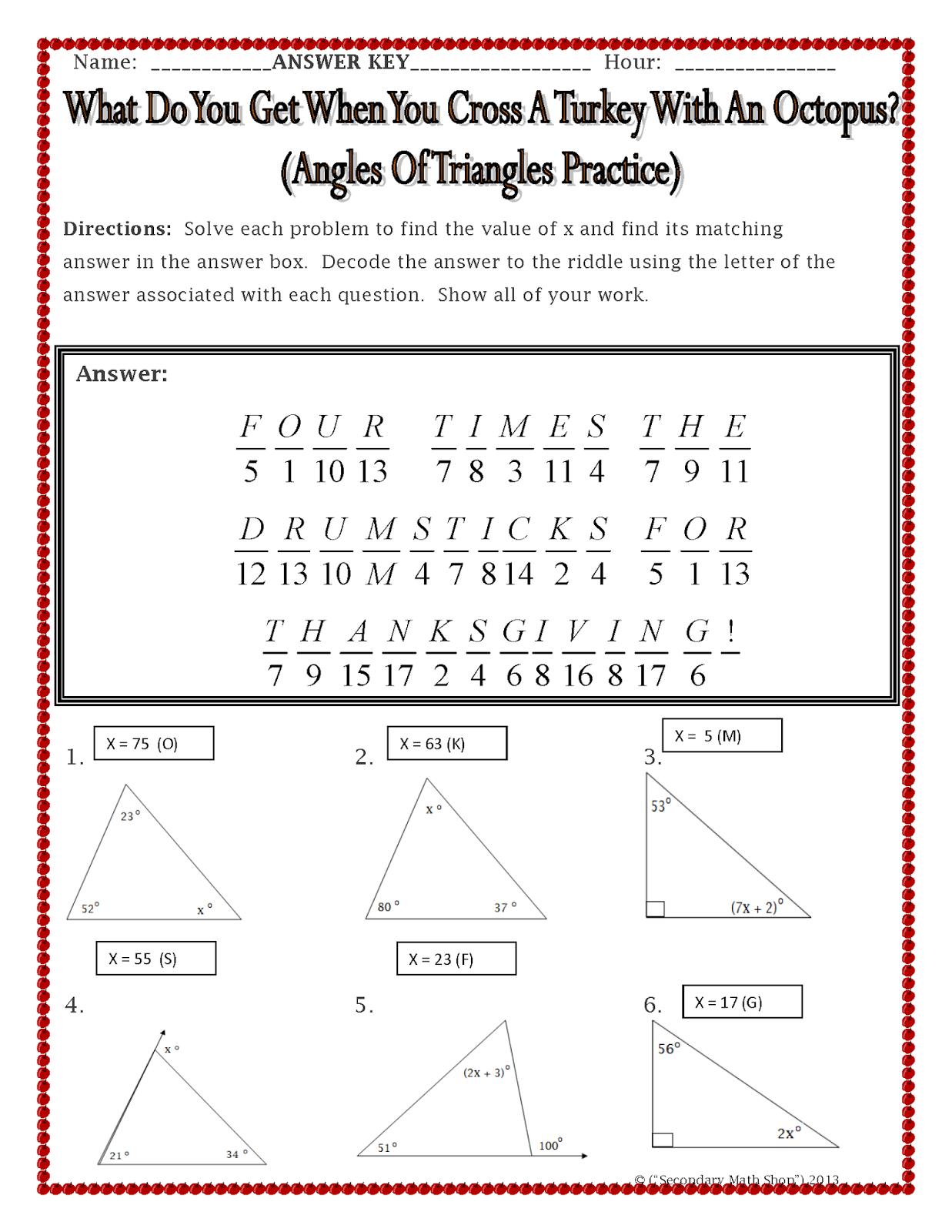 Worksheets Mathland Worksheets the spectacular world of secondary math celebrating holidays in land