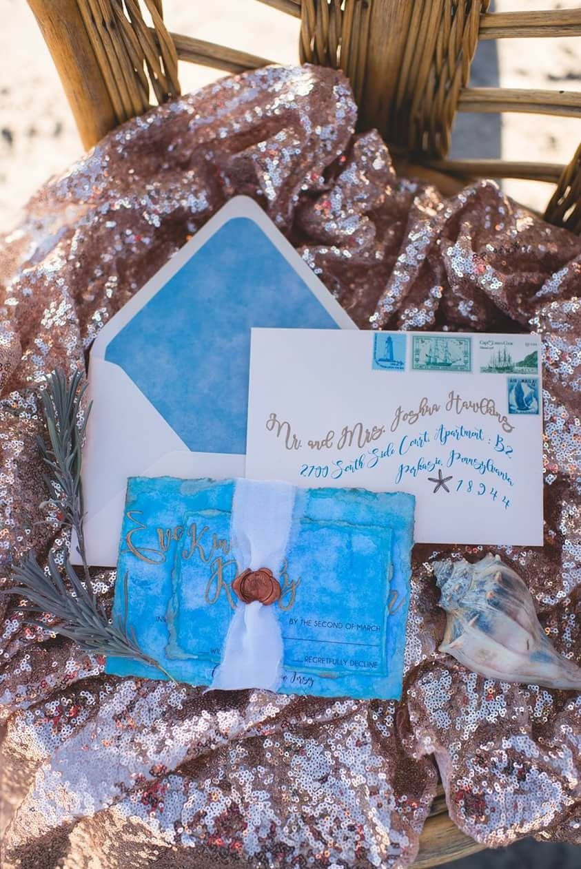 Unique wedding invitations, handmade invitations, beach wedding ideas, beach wedding invitations, wedding invitations