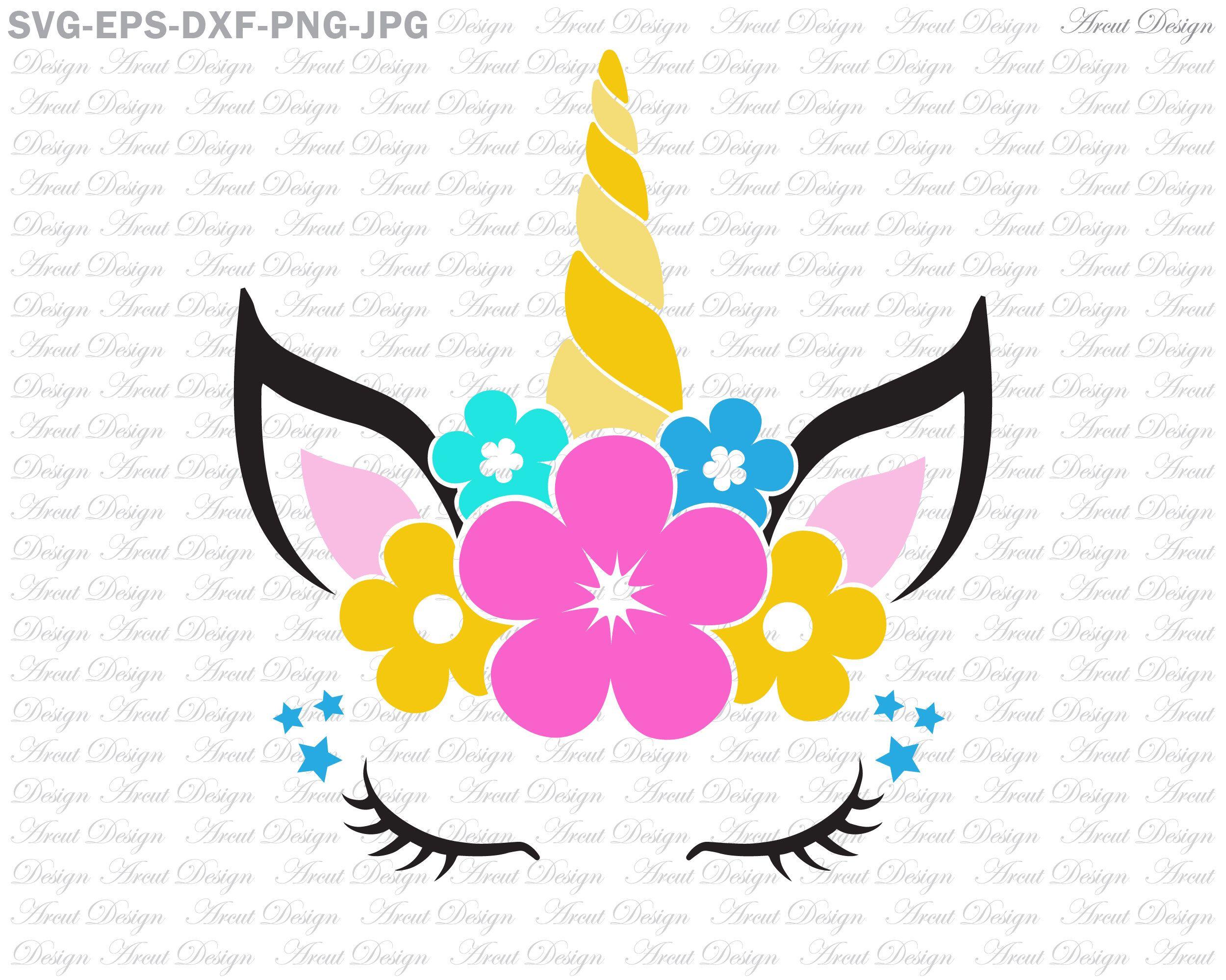 Unicorn Flower SVG, Unicorn head Svg, Unicorn Face SVG