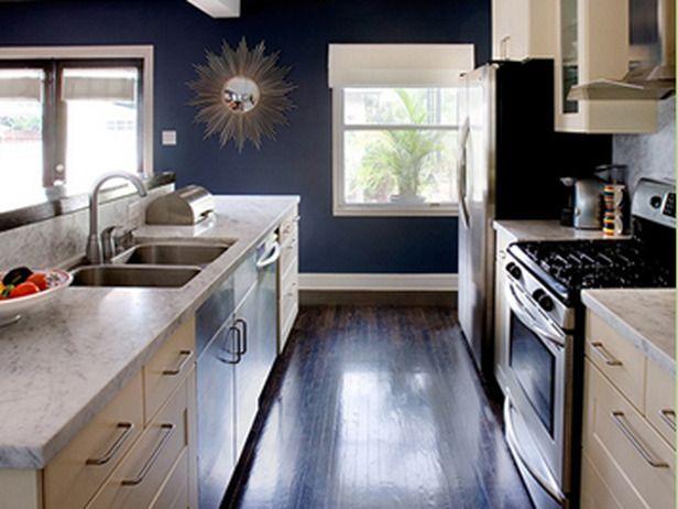 Download Wallpaper White Kitchen Cupboards Blue Walls