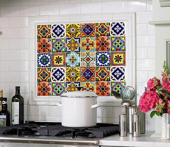 Tile Stickers Vinyl Decal Waterproof Removable Mexican Talavera