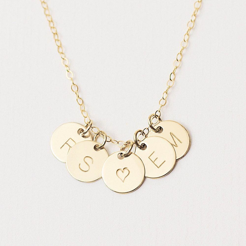 Delicate gold initial disc necklace multiple initial necklace delicate gold initial disc necklace multiple initial necklace personalised 14k rose gold filled necklace gold circle necklace mozeypictures Choice Image