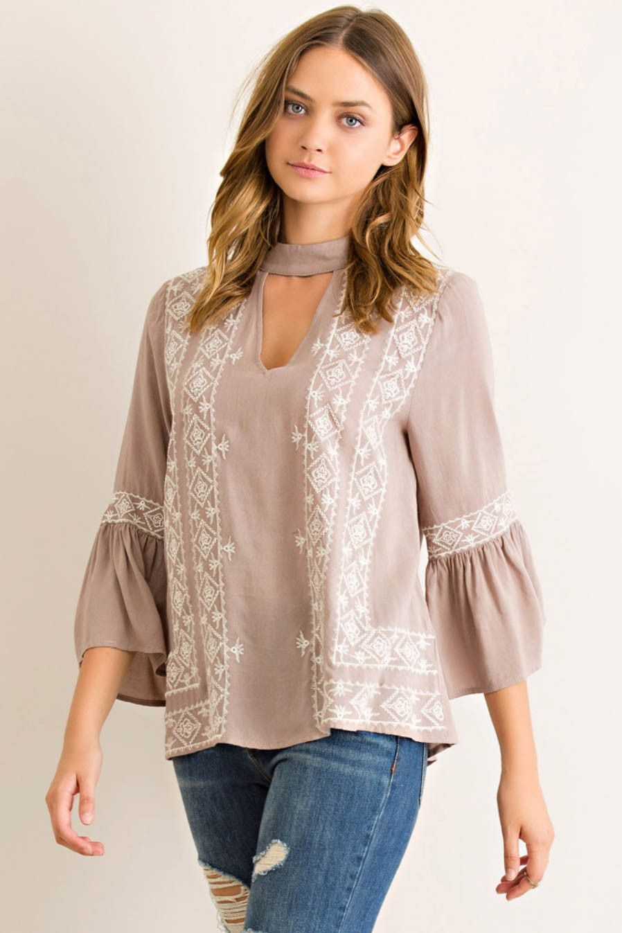e16134382e7 Embroidered Top with Circular Flounce Sleeves