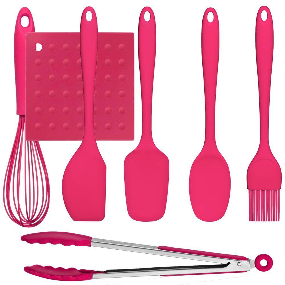 Hot Pink 7 Piece Silicone Kitchen Utensil Set