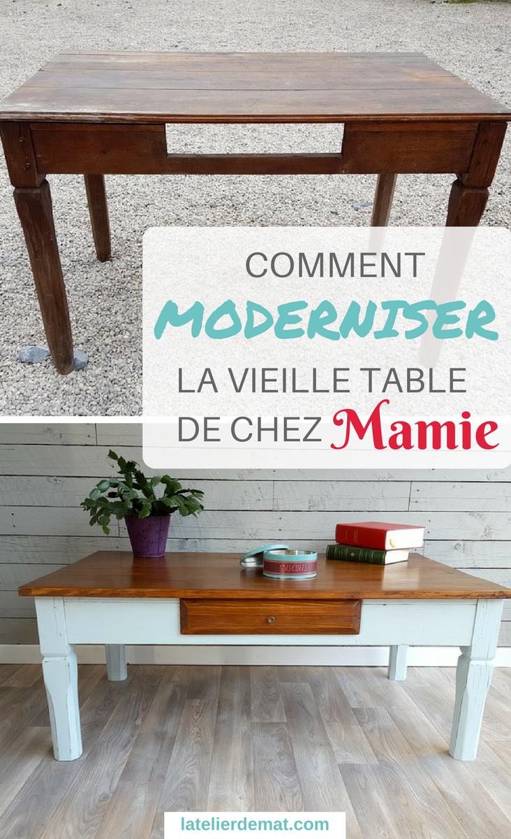 Moderniser Une Vieille Table Dans Le Style Farmhouse L Atelier De Mat Vieilles Tables Vieilles Chaises En Bois Vieille Table En Bois
