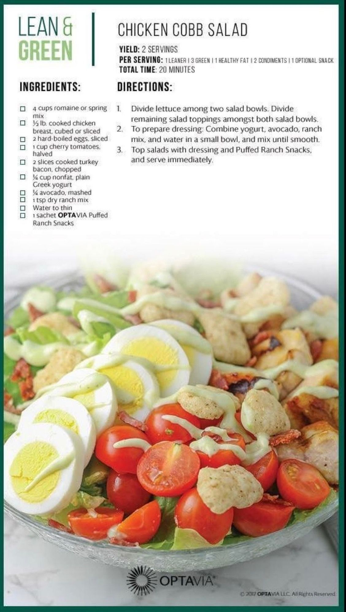 Chicken Cobb Salad Lean Protein Meals Lean Eating Greens Recipe