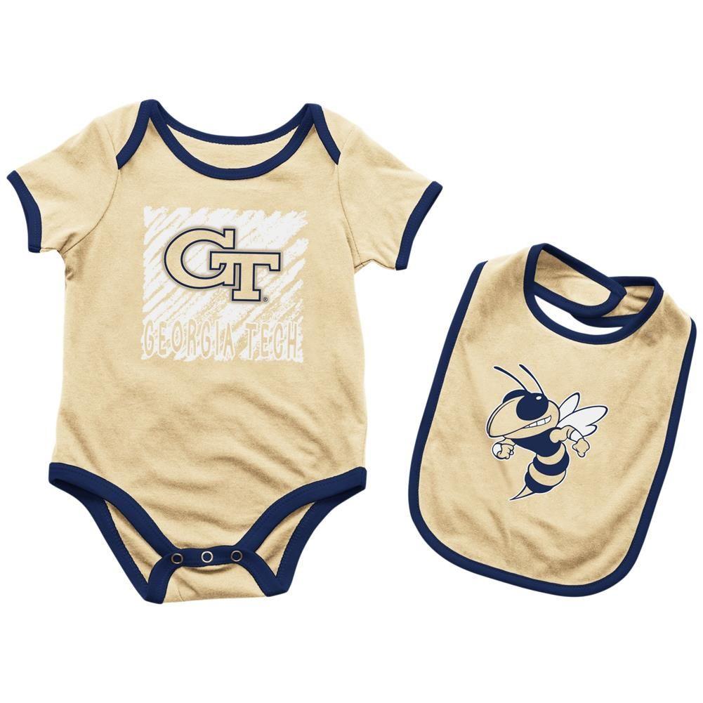 Georgia Tech Gt Baby Bodysuit Look At The Baby Bib Set Kids Sleepwear Baby Bodysuit Bib Set