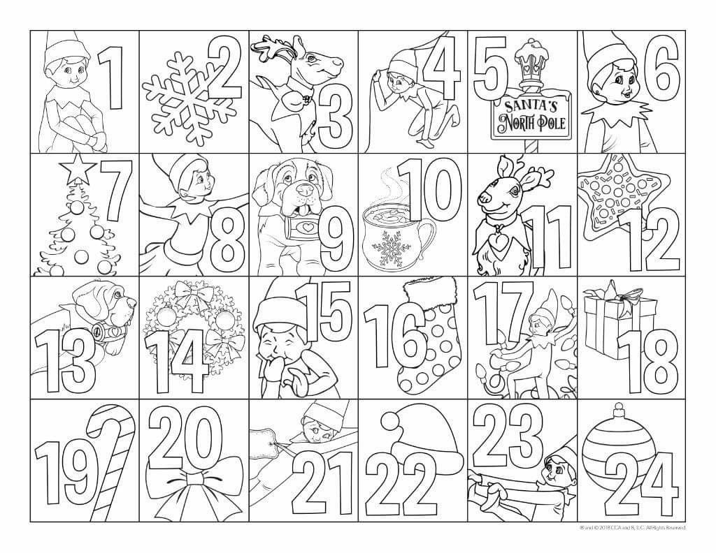 Elf On The Shelf Advent In 2019 Elf On The Shelf Elf Christmas Coloring Pages