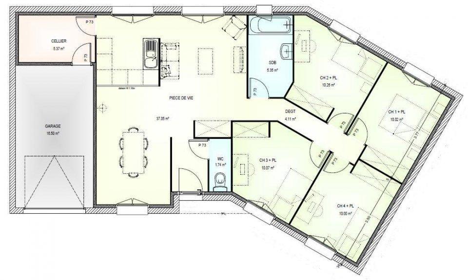 plan gratuit maison plain pied 4 chambres en l 1 plan gratuit maison plain pied 4