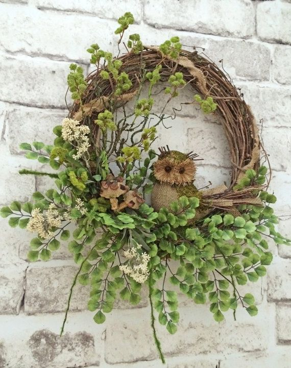 Photo of Burlap Owl Summer Wreath for Door, Front Door Wreath, Spring Wreath, Outdoor Wreath, Grapevine Wreath, Silk Floral Wreath, Summer Door Decor