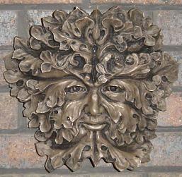 Large Gothic Greenman Wall Plaque Bronze Green Man Green Man Sculpture Celtic Art