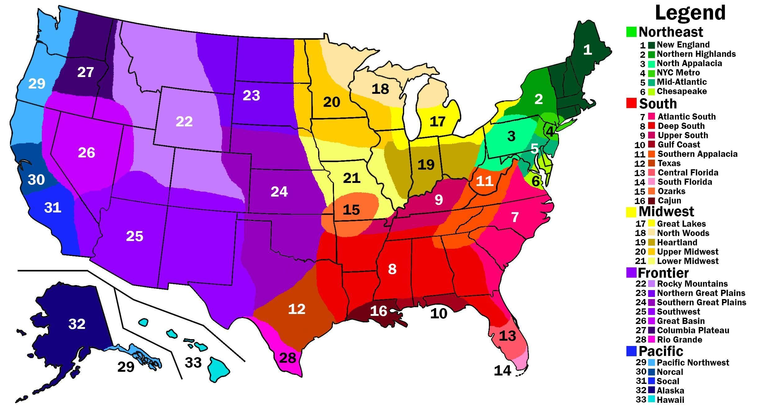 Updated US Cultural Regions | Map, United states map, United ...
