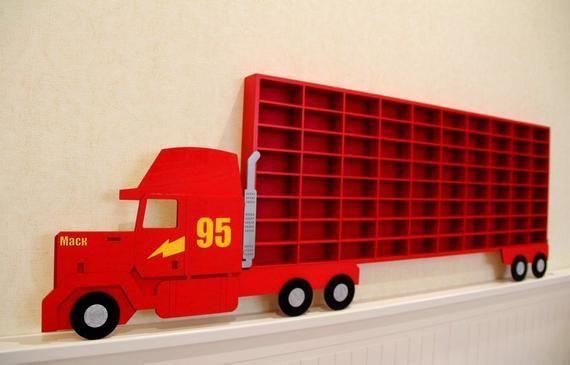 Hot Wheels Boys Wood Truck Display Case Toy Matchbox Storage Playroom Wooden Shelf Rack Gift Wall De