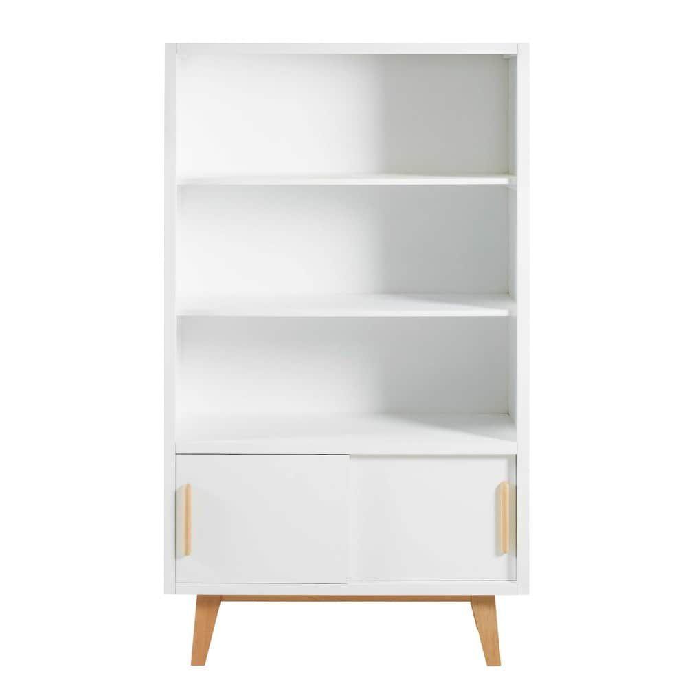 Weißen Bücherregal mit 2 Schiebetüren Bücherregal ideen