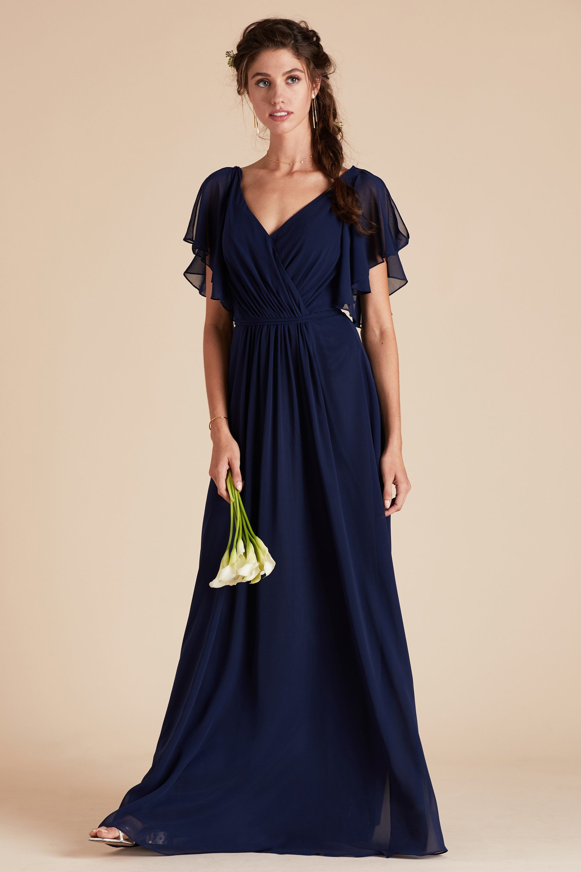 Navy Bridesmaid Dress Under 100 By Birdy Grey Muggsy Ruffle Gown Chiffon