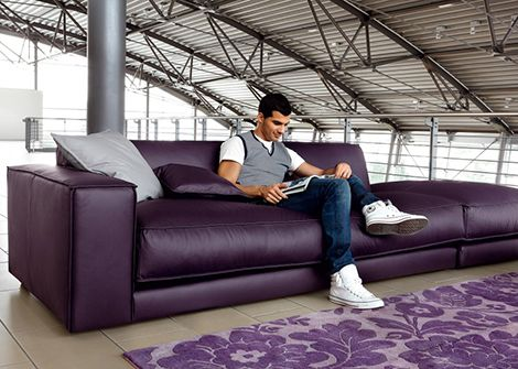 Paarse Leren Bank.Purple Leather Sofa By Ditre Italia Blob Oversized Meubels