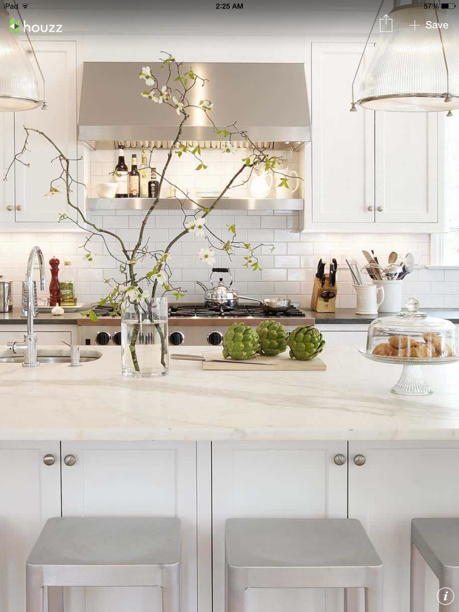 Floral branch arrangement White kitchen Kitchen