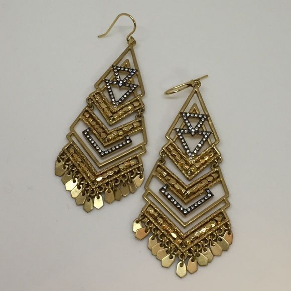 """Stella & Dot Horizon Statement Earrings Hand beaded with pave accents and mini gold dangles on these geometric chandelier earrings. Dress up or down. 3"""" drop length. Vintage gold plating. Stella & Dot Jewelry Earrings"""
