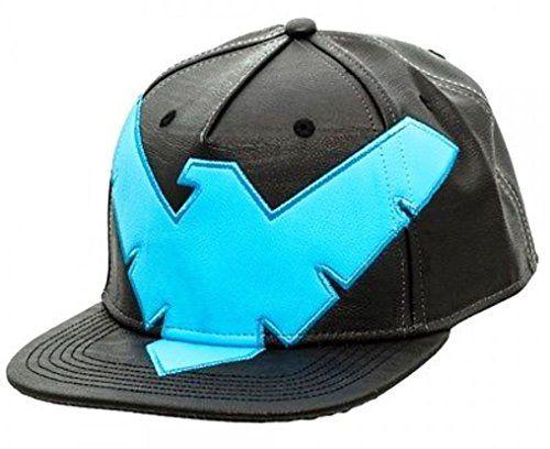 Batman Nightwing DC Comics Costume Suit Up Snapback PU Faux Leather Hat Cap 7f6818b42f4c