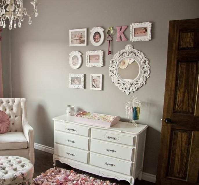 Love this baby girl nursery, would like to pick solid colored main pieces to use for future babies and pink accents!