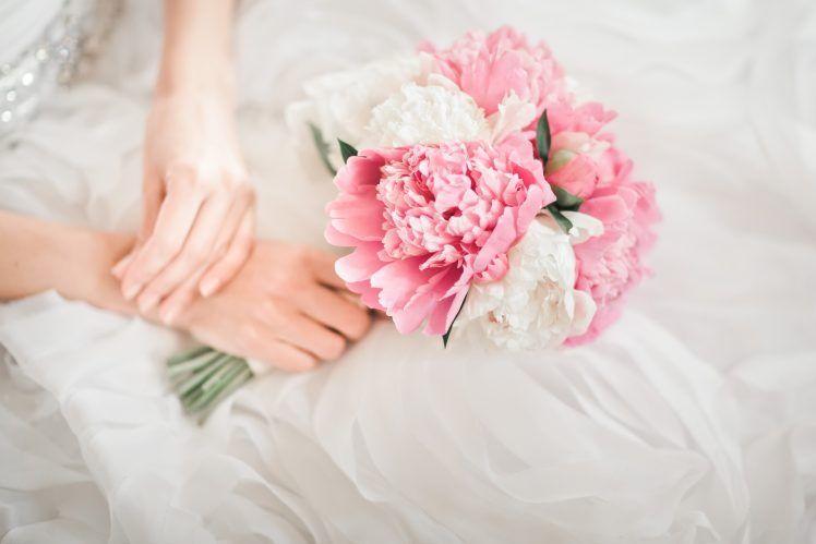 Ružové pivonky pivónie svadobná kytica