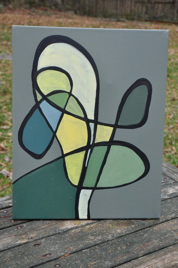 Items similar to Calder-esque modern abstract green mod painting on Etsy